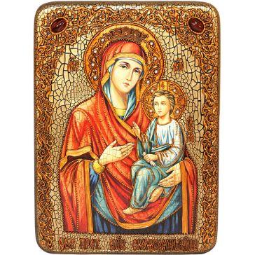 Подарочная икона Пресвятой Богородицы «Скоропослушница», со свидетельством в деревянной шкатулке, Россия