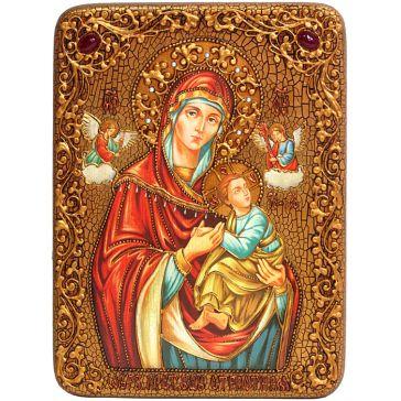 Икона Пресвятой Богородицы «Страстная» на доске из дуба, 21х29 см