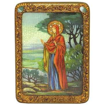 Красивая икона с натуральным жемчугом «Святая праматерь Ева»