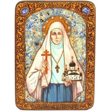 Подарочная икона на морёном дубе «Святая преподобномученица великая княгиня Елисавета»