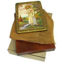Большая икона на мореном дубе «Святой праведный Симеон Верхотурский», с номерным свидетельством