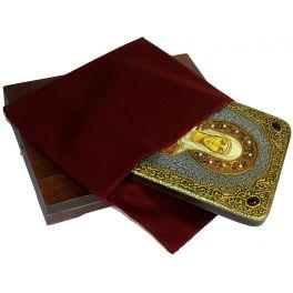 Подарочная икона с натуральными камнями «Святая Емилия Кесарийская (Каппадокийская)», в подарочной деревянной шкатулке