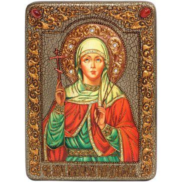 Подарочная икона на морёном дубе «Святая мученица Виктория Кордувийская», 21х29 см