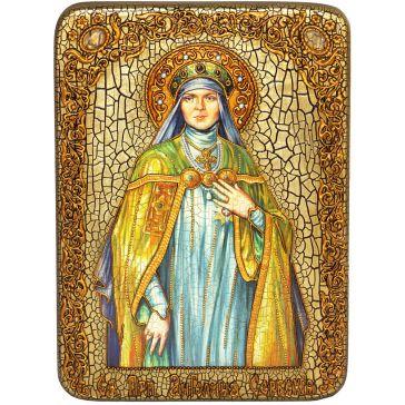 Подарочная икона «Святая преподобная Ангелина Сербская» на морёном дубе