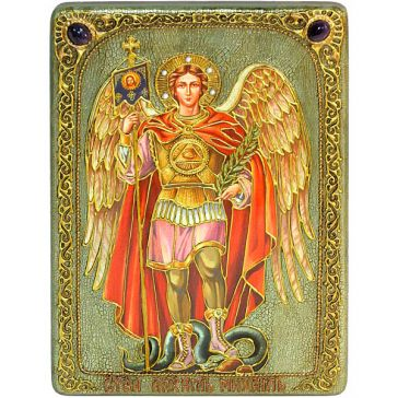 Икона Архангела Михаила на дубовой доске, упаковка: подарочная шкатулка, свидетельство в комплекте