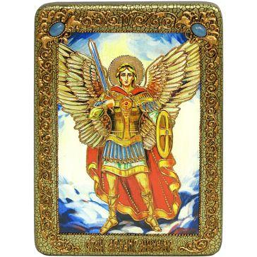 Икона Архангела Михаила на доске из морёного дуба, упаковка: подарочная шкатулка, свидетельство в комплекте
