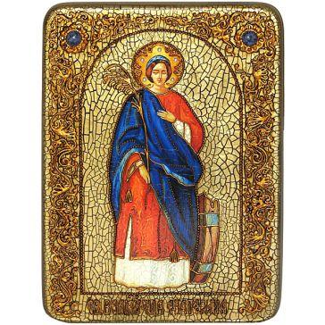 Икона с самоцветами «Святая Великомученица Екатерина Александрийская» в шкатулке