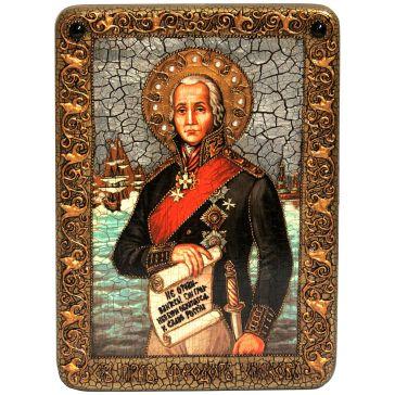 Икона «Святого праведного воина Феодора (Ф.Ф.Ушакова, адмирала флота Российского)» на доске