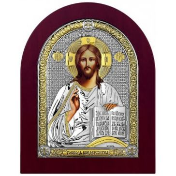 Посеребрённая икона «Господь Иисус Христос Вседержитель»