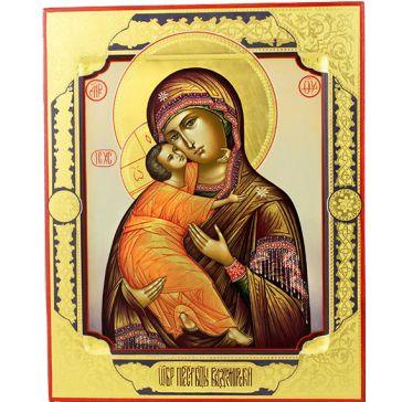 Живописная икона Божией Матери Владимирской с золочением.
