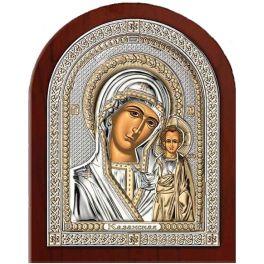 Миниатюрная посеребренная икона «Казанская Божия Матерь»