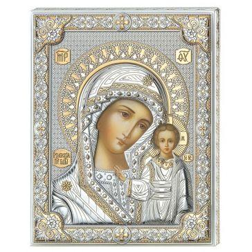 Посеребренная икона «Казанская Божия Матерь»