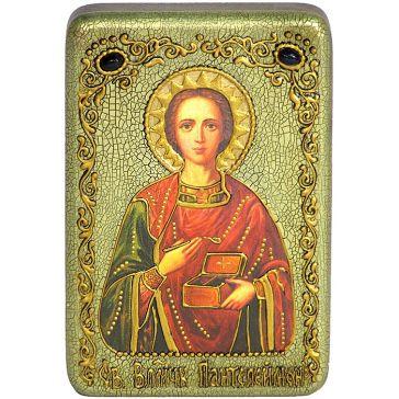 Настольная икона «Святой Великомученик и Целитель Пантелеймон» в красивой шкатулке