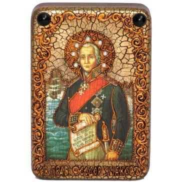 Икона «Святого праведного воина Феодора (Ф.Ф.Ушакова, адмирала флота Российского)» на доске дуба