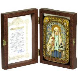 Настольная икона на морёном дубе «Святая преподобномученица великая княгиня Елисавета»
