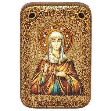 Настольная икона «Святая Емилия Кесарийская (Каппадокийская)» в подарочной деревянной шкатулке, со свидетельством