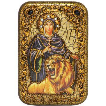Настольная икона «Святая мученица Дария Римская» на морёном дубе