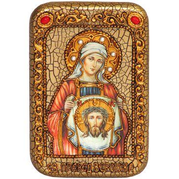 Настольная икона «Святая Праведная Вероника Кровоточивая» на морёном дубе