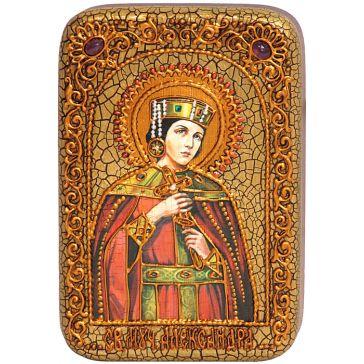 Икона на дубовой доске «Святая мученица Александра Римская» в шкатулке, со свидетельством