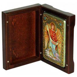 Настольная икона «Архангел Варахиил», в деревянной шкатулке, со свидетельством