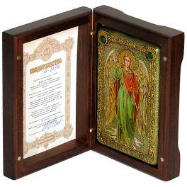 Настольная икона размером 10х15 см «Архангел Рафаил» в деревянной шкатулке