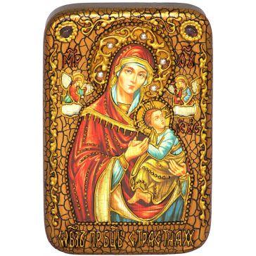 Настольная икона Пресвятой Богородицы «Страстная» на мореном дубе