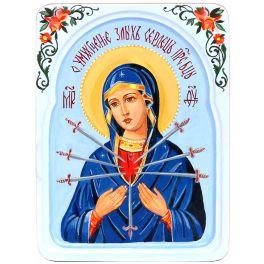 Рукописная икона «Образ Божией Матери «Умягчение злых сердец», размер 15х20 см, икона в резном киоте