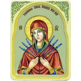Икона Божией Матери «Умягчение злых сердец» в киоте из ясеня, ручная работа