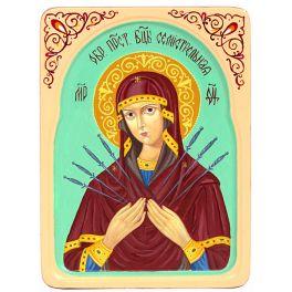 Рукописная икона «Образ Божией Матери «Семистрельная» в резном киоте