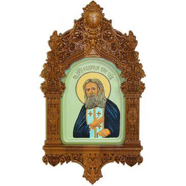 Рукописная икона «Преподобный Серафим Саровский чудотворец» на кипарисовой доске 15х20 см, икона в резном киоте