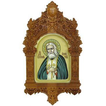 Рукописная икона «Преподобный Серафим Саровский чудотворец» в резном киоте