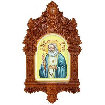 Рукописная икона на доске из кипариса «Преподобный Серафим Саровский чудотворец», икона в киоте из ясеня