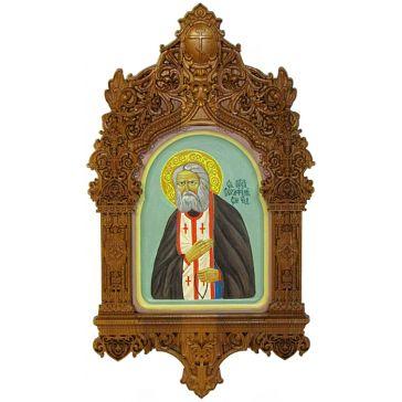 Икона «Преподобный Серафим Саровский чудотворец» на кипарисовой доске 15х20 см, рукописная икона в киоте