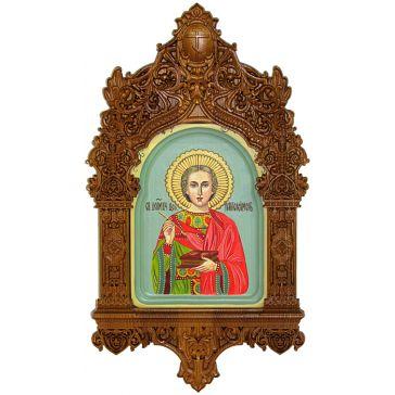 Рукописная икона «Святой Великомученик и Целитель Пантелеймон» в резном киоте, размер иконы 15х20 см