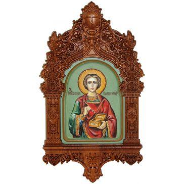 Икона рукописная «Святой Великомученик и Целитель Пантелеймон» в киоте, размер иконы 15х20 см