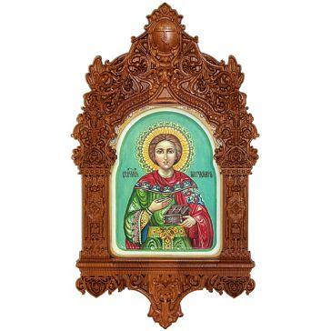 Рукописная икона «Святой Великомученик и Целитель Пантелеймон» на доске 15х20 см, икона в резном киоте