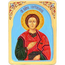 Рукописная икона «Святой Великомученик и Целитель Пантелеймон» в резном киоте