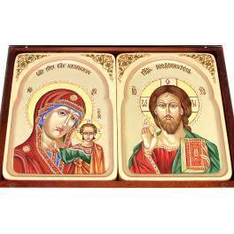 Рукописные иконы – венчальная пара «Казанская Божия Матерь» и  «Господь Вседержитель» в резных киотах