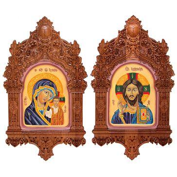 Венчальная пара «Казанская Божия Матерь» и  «Господь Вседержитель» в резных киотах, авторская ручная работа