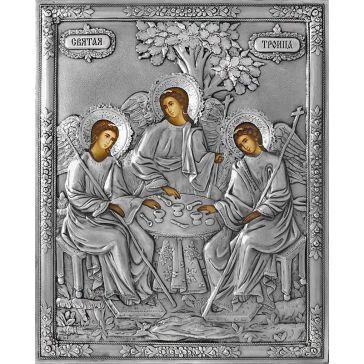 Икона Святая Троица в серебряном окладе. Копия старинной иконы XVIII-XIX века