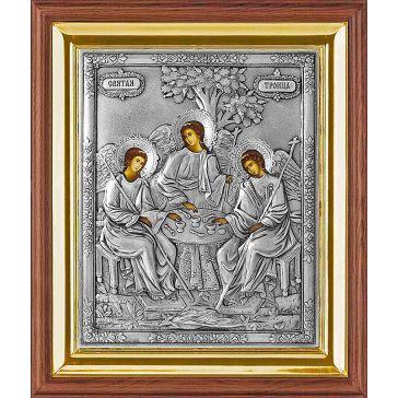 Икона Святая Троица в серебряном окладе в киоте. Копия иконы XIX века