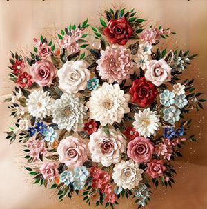Фарфоровые картины с цветами