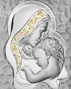 Серебряная картина Мадонна с младенцем