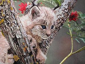 Вышитые шелком картины животных